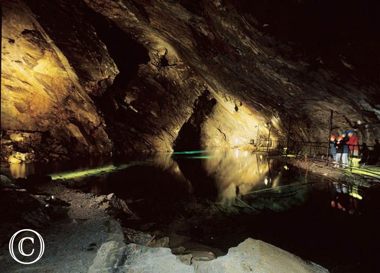 Slate Caverns at Blanau Ffestiniog - where you will also find the largest underground trampoline in the world!