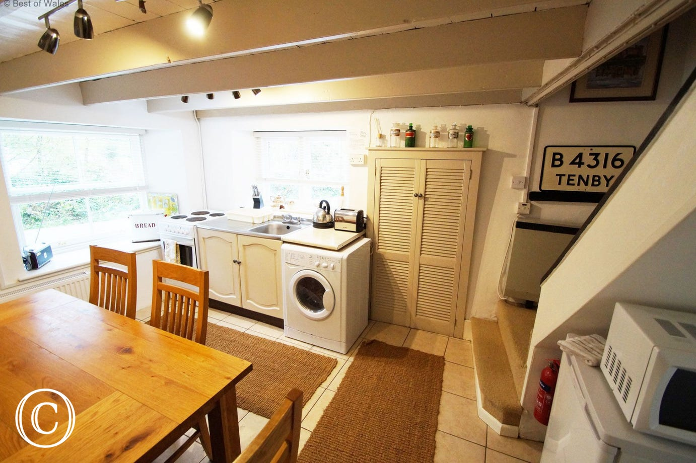 Kitchen with breakfast table at this dog friendly holiday cottage