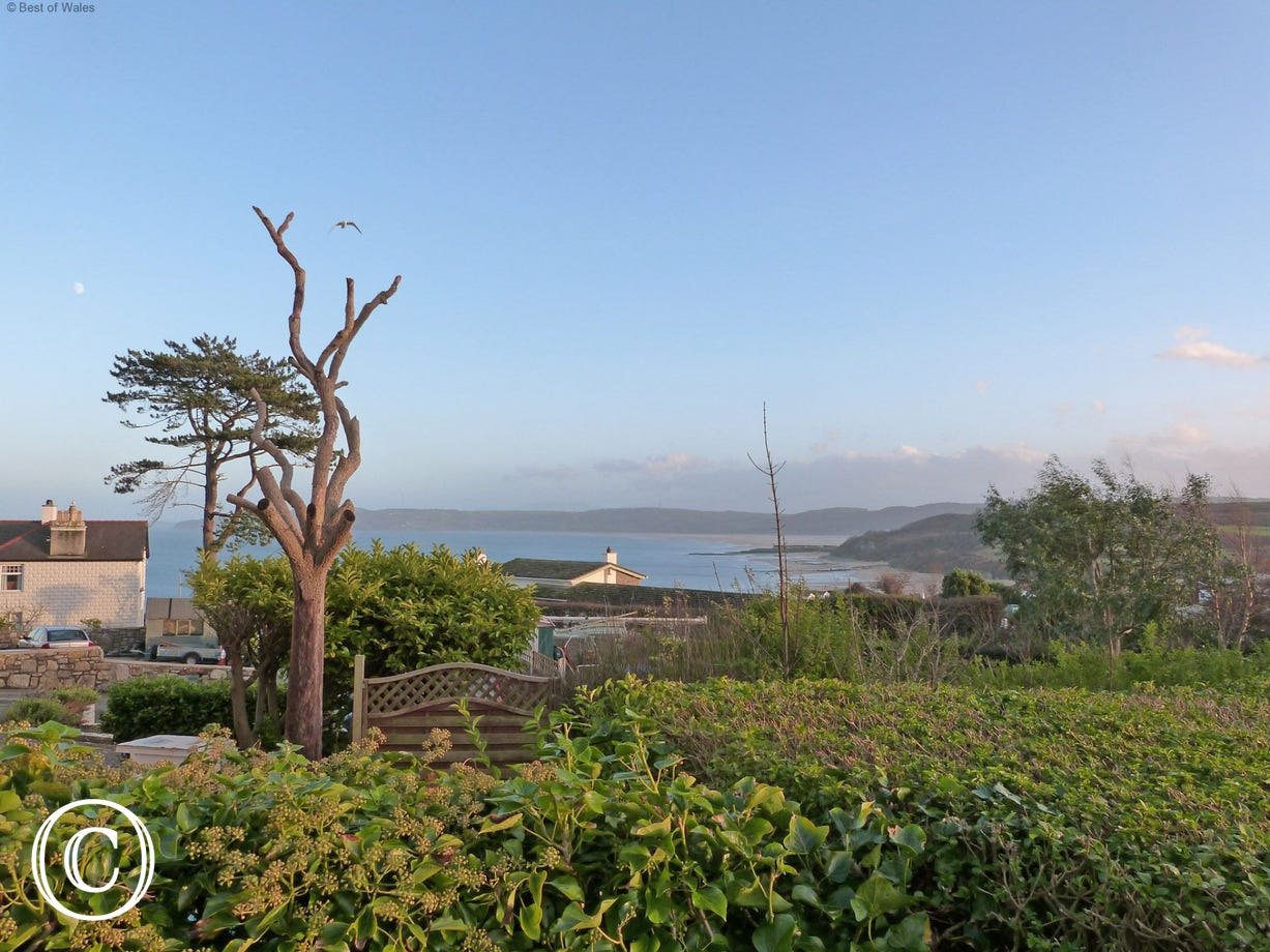 View from the garden - looking down at Benllech beach, 2 mins away