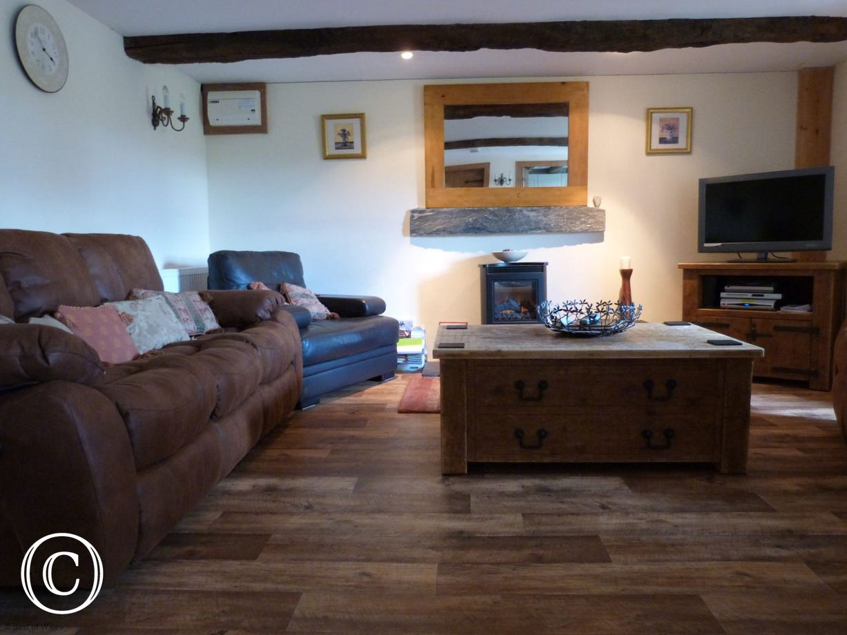 Cosy living area with electric fireplace, Sky TV, DVD & CD player