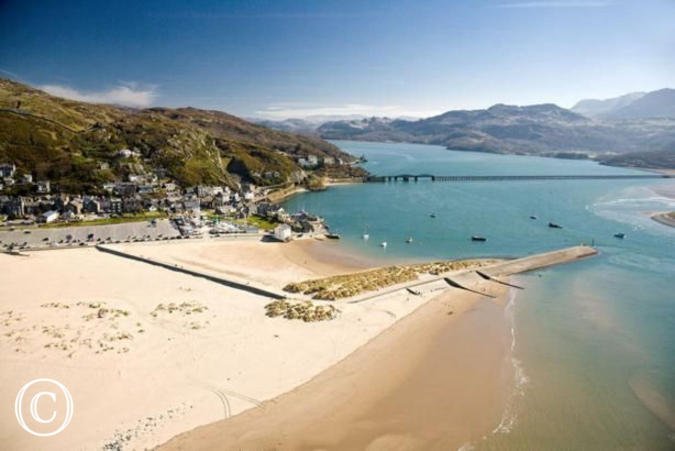 Barmouth beach with a blue flag award, 20 miles from your cottage