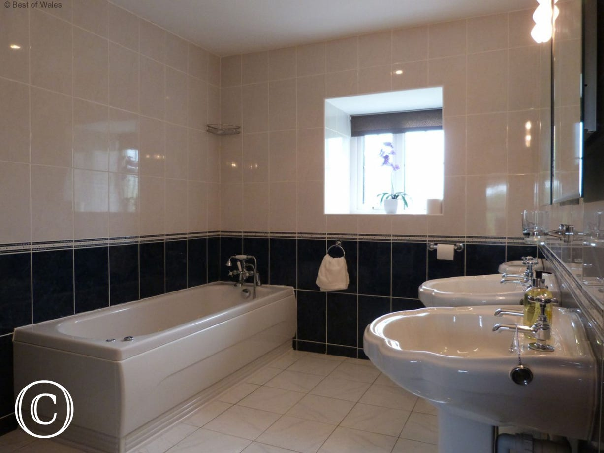 en-suite includes a 6 jet whirlpool bath & twin washbasins (his'n hers)