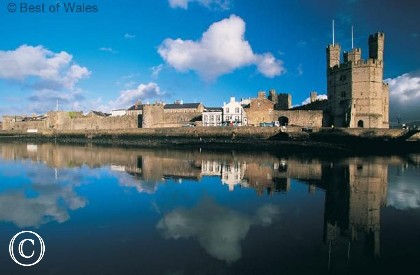 The castle at Caernarfon, a lovely Welsh town 12 miles north
