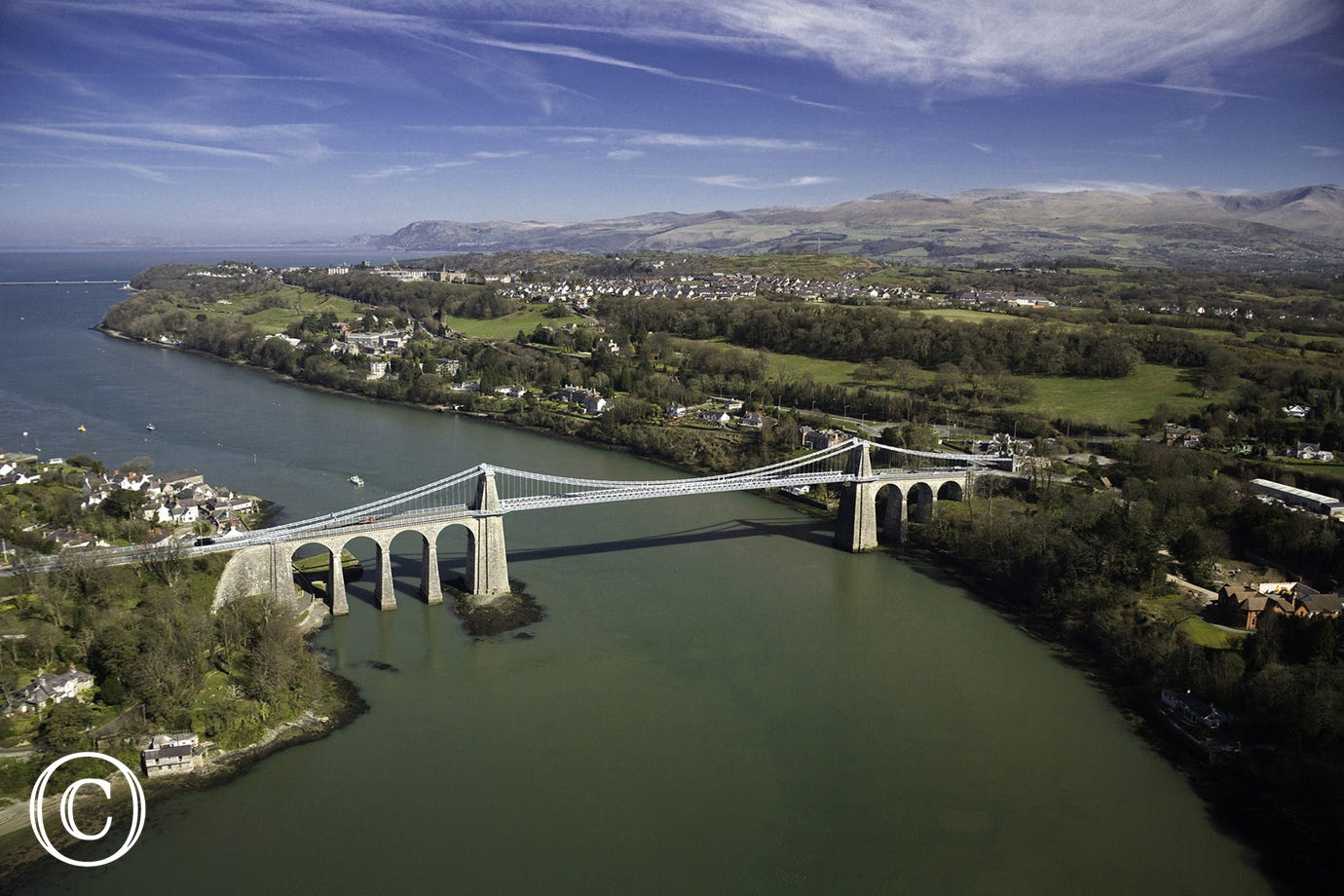 One of two bridges that connect Anglesey with mainland Wales