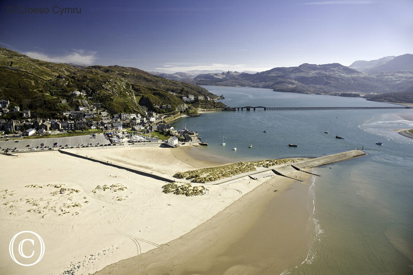 The beautiful blue flag beach at Barmouth