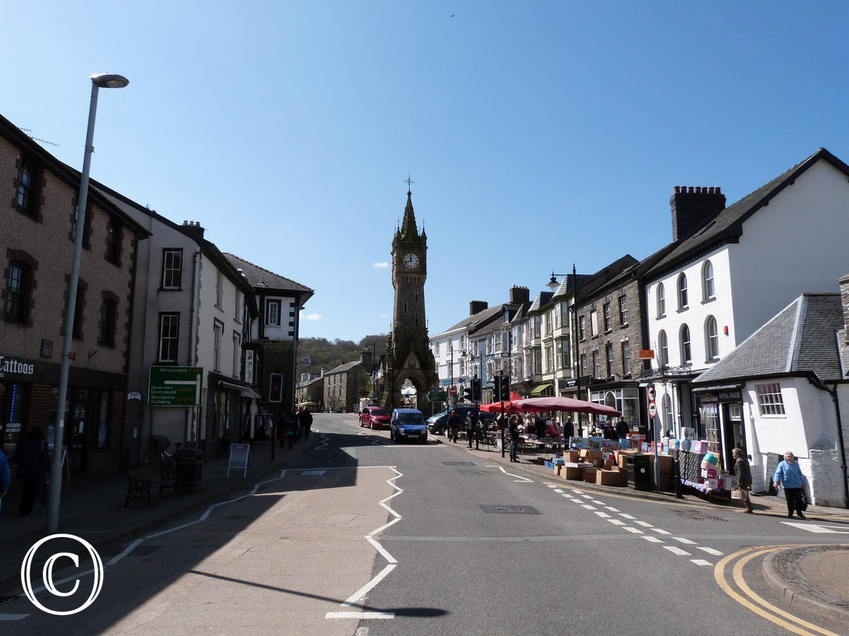 The historical market town of Machynlleth, just 5 miles away