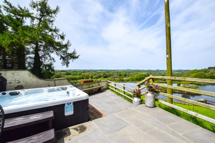 Hot-tub with views over the lake and surrounding countryside